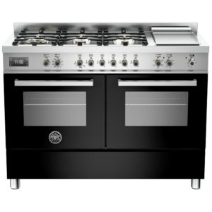 Bertazzoni PRO120-6G-MFE-D-NET 120cm Professional Dual Fuel Range With Griddle – BLACK