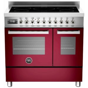 Bertazzoni PRO90-5I-MFE-D-VIT 90cm Professional Induction Twin Range Cooker – BURGUNDY