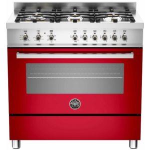 Bertazzoni PRO90-6-HYB-S-ROT 90cm Professional Dual Fuel Range 6 Burner – RED
