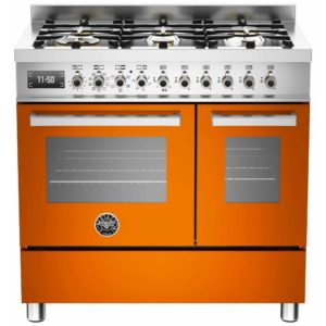 Bertazzoni PRO90-6-MFE-D-ART 90cm Professional Dual Fuel Twin Range 6 Burner – ORANGE
