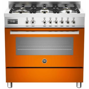 Bertazzoni PRO90-6-MFE-S-ART 90cm Professional Dual Fuel Range 6 Burner – ORANGE