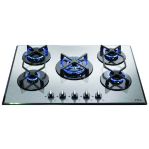 CDA HVG720SS 70cm 5 Burner Gas On Glass Hob – STAINLESS STEEL