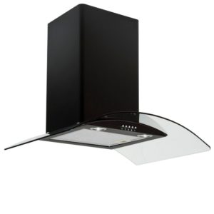 Caple CGC710BK 70cm Curved Glass Chimney Hood - BLACK