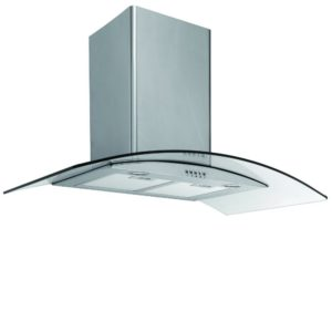 Caple CGC910SS 90cm Curved Glass Chimney Hood - STAINLESS STEEL