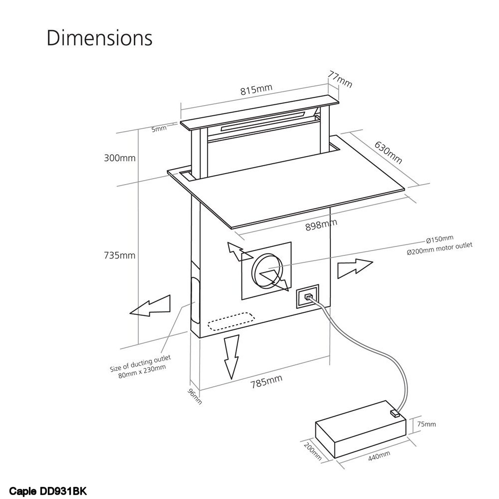 Caple Dd931bk 90cm Air Venting Induction Hob Appliance City Circuit Diagram Of Cooker Dimensions