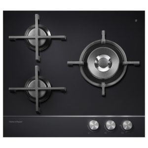 Fisher Paykel CG603DNGGB1 60cm 3 Burner Gas On Glass Hob – BLACK