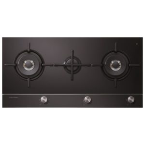 Fisher Paykel CG903DNGGB1 90cm 3 Burner Gas On Glass Hob – BLACK