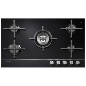 Fisher Paykel CG905DNGGB1 90cm 5 Burner Gas On Glass Hob – BLACK