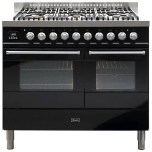 Ilve KD-1006-MP-BLK 100cm Ultimo Dual Fuel Range Cooker - BLACK