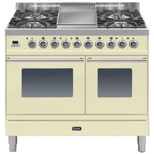 Ilve PDW-100F-E3-CR 100cm Roma Dual Fuel Range Cooker With Fry Top – CREAM