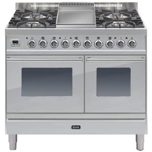 Ilve PDW-100F-E3-SS 100cm Roma Dual Fuel Range Cooker With Fry Top - STAINLESS STEEL