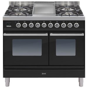 Ilve PDW-100F-E3-BLK 100cm Roma Dual Fuel Range Cooker With Fry Top – BLACK