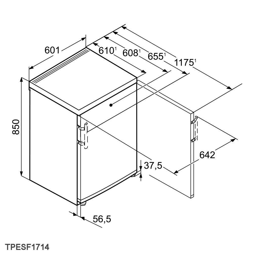 liebherr tpesf1714 60cm freestanding undercounter fridge