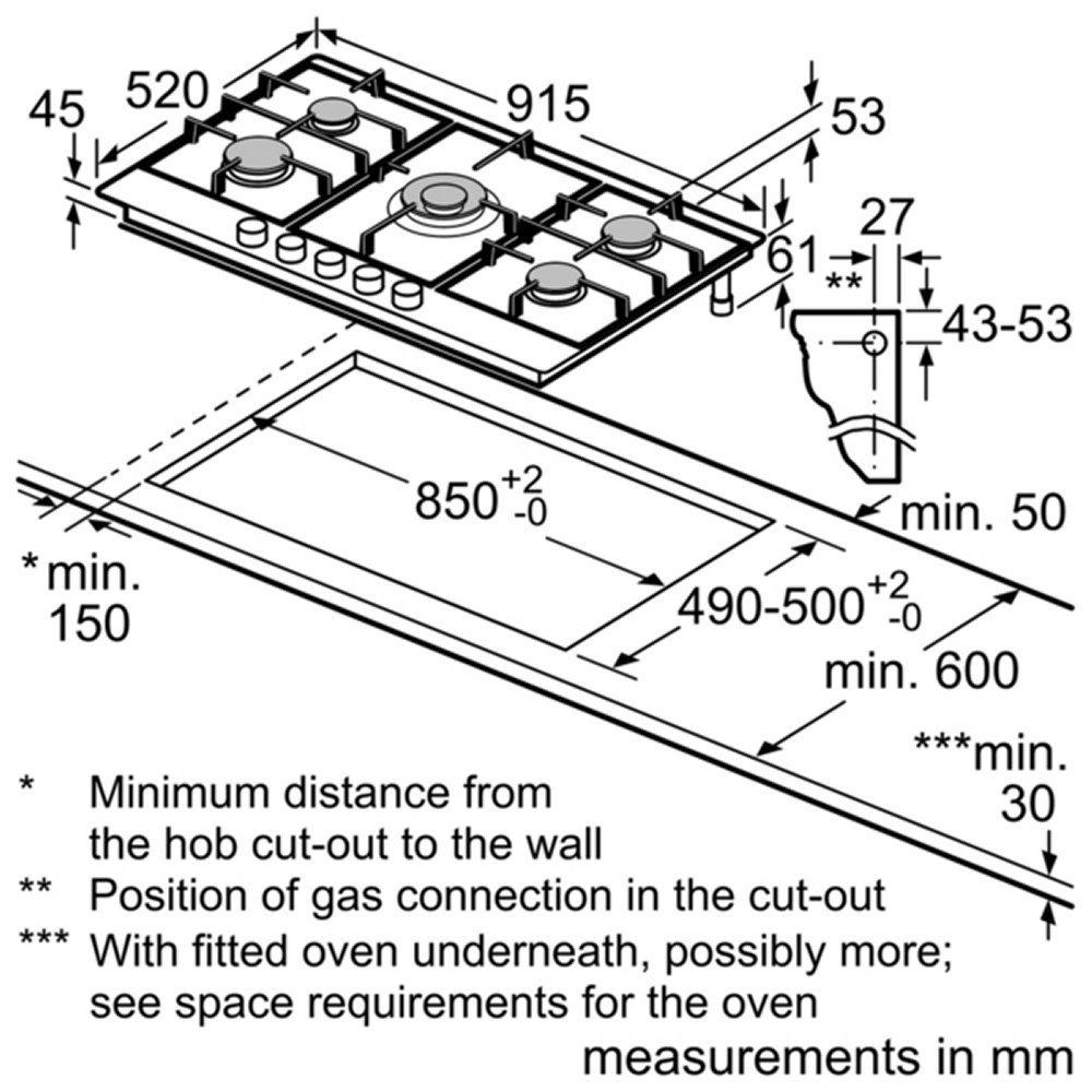 neff t29da69n0 90cm 5 burner flameselect gas hob