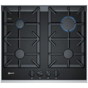 Neff T26TA49NO 60cm FlameSelect Gas On Glass Hob Steel Trim – BLACK