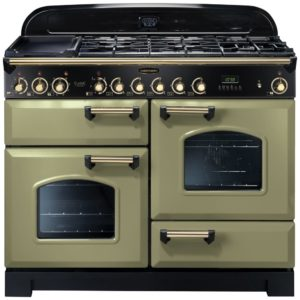 Rangemaster CDL110DFFOG/B Classic Deluxe 110cm Dual Fuel Range Cooker 114470 – OLIVE GREEN