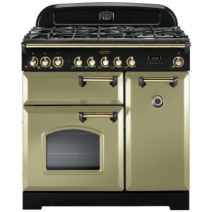 Rangemaster CDL90DFFOG/B Classic Deluxe 90cm Dual Fuel Range Cooker 114630 – OLIVE GREEN