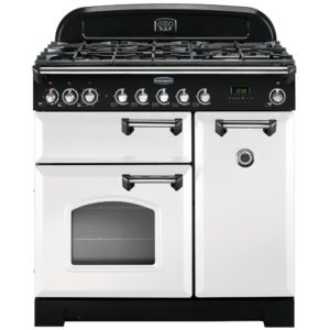 Rangemaster CDL90DFFWH/C Classic Deluxe 90cm Dual Fuel Range Cooker 113550 – WHITE
