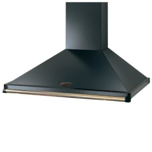 Rangemaster CLAHDC110BB 110cm Classic Chimney Hood With Brass Rail – BLACK