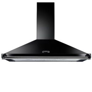Rangemaster CLAHDC110BC 110cm Classic Chimney Hood With Chrome Rail - BLACK