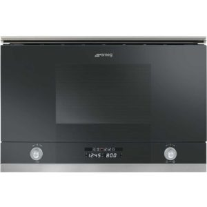 Smeg MP122N 60cm Built In Linea Microwave & Grill For Wall Unit – BLACK