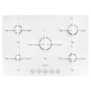 Smeg PV175CB 74cm Linea 5 Burner Gas On Glass Hob - WHITE
