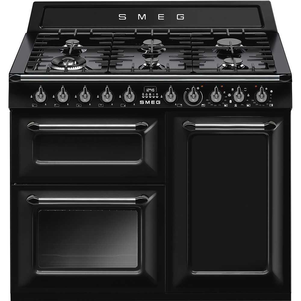 smeg tr103bl 100cm victoria dual fuel range cooker black. Black Bedroom Furniture Sets. Home Design Ideas