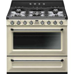 Smeg TR90P9 90cm Victoria Single Cavity Dual Fuel Range Cooker – CREAM