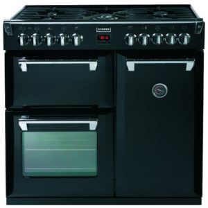Stoves STERLING DX S900DFGTGBK 4933 Sterling Deluxe 90cm Gas On Glass Dual Fuel Range Cooker – BLACK