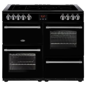Belling FARMHOUSE 100EBLK 4136 100cm Ceramic Range Cooker - BLACK