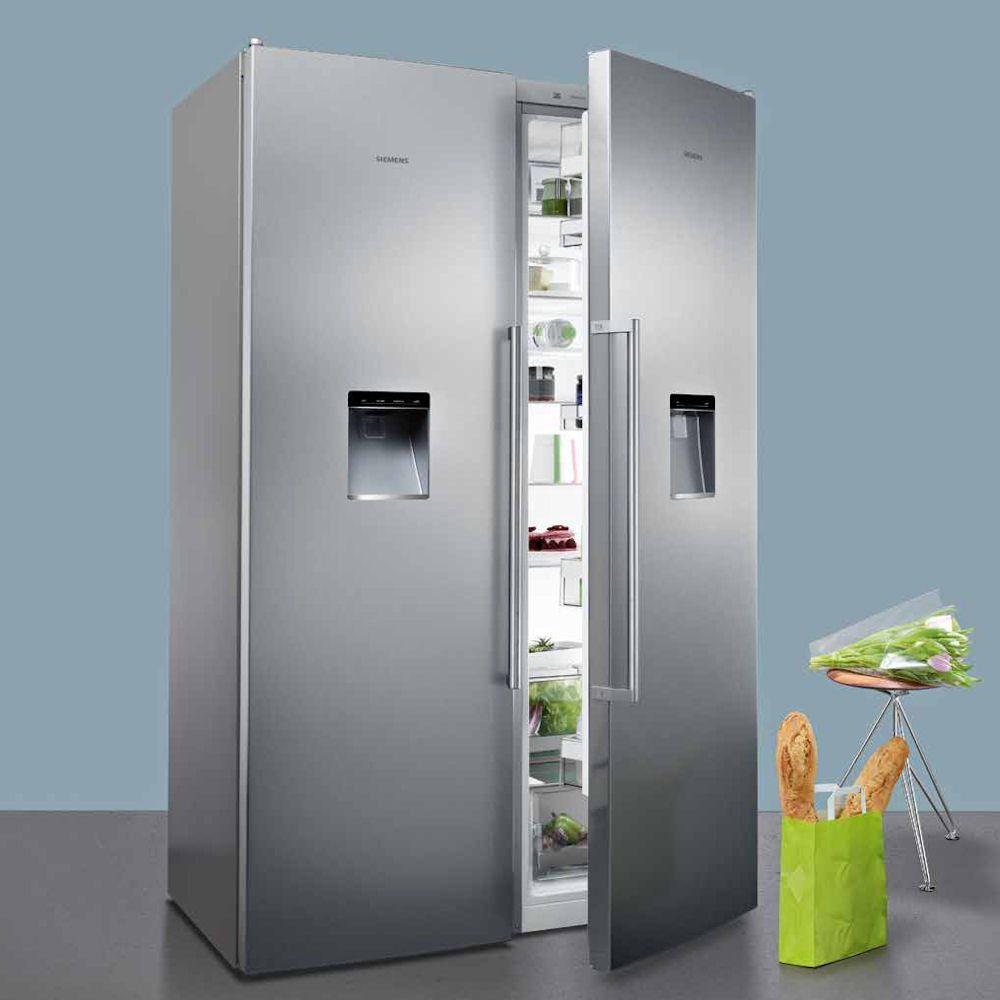 siemens ks36wpi30 gs36dpi20 side by side fridge freezer with ice water appliance city. Black Bedroom Furniture Sets. Home Design Ideas