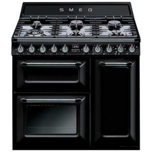 Smeg TR93BL 90cm Victoria Dual Fuel Range Cooker – BLACK