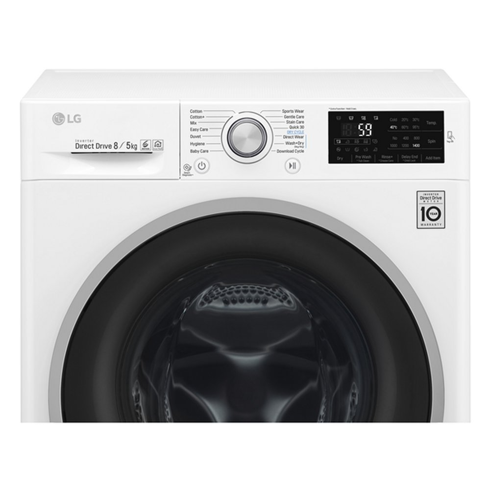 lg f4j6tm1w 8kg direct drive washer dryer 1400rpm white appliance city. Black Bedroom Furniture Sets. Home Design Ideas