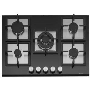 Caple C871GBK 68cm 5 Burner Gas On Glass Hob – BLACK