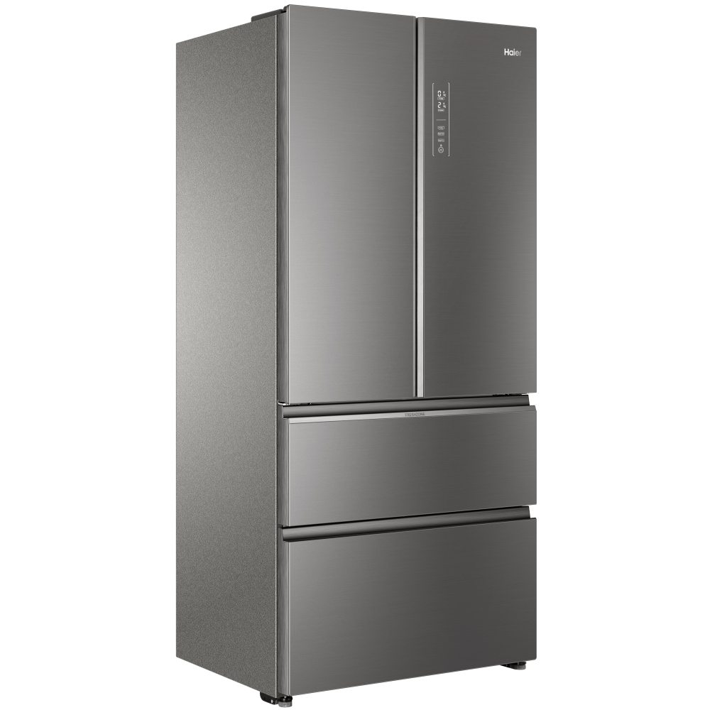 haier hb18fgsaaa glass fronted french style 4 door fridge freezer stainless steel appliance city. Black Bedroom Furniture Sets. Home Design Ideas