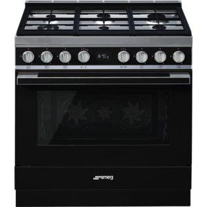 Smeg CPF9GPBL 90cm Portofino Pyrolytic Dual Fuel Range Cooker – BLACK