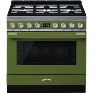 Smeg CPF9GPOG 90cm Portofino Pyrolytic Dual Fuel Range Cooker – GREEN
