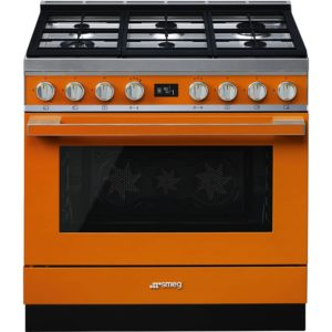 Smeg CPF9GPOR 90cm Portofino Pyrolytic Dual Fuel Range Cooker – ORANGE