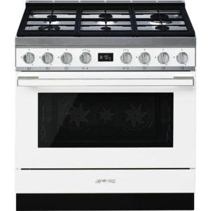 Smeg CPF9GPWH 90cm Portofino Pyrolytic Dual Fuel Range Cooker – WHITE