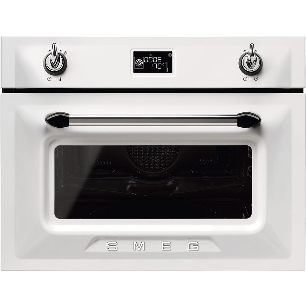 Smeg Sf4920mcb1 Victoria Compact Combi Microwave For Tall