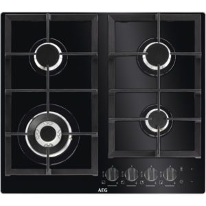 AEG HKB64NB540 59cm 4 Burner Gas On Glass Hob - BLACK