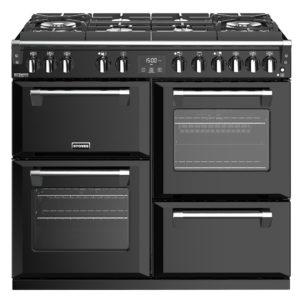 Stoves RICHMOND DX S1000DFGTGBK 4909 Richmond Deluxe 100cm Gas On Glass Dual Fuel Cooker – BLACK
