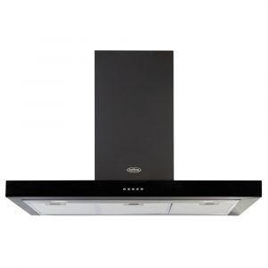 Belling COOKCENTRE90FLATBLK 90cm Flat Chimney Hood – BLACK