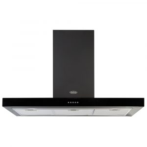 Belling COOKCENTRE100FLATBLK 100cm Flat Chimney Hood – BLACK