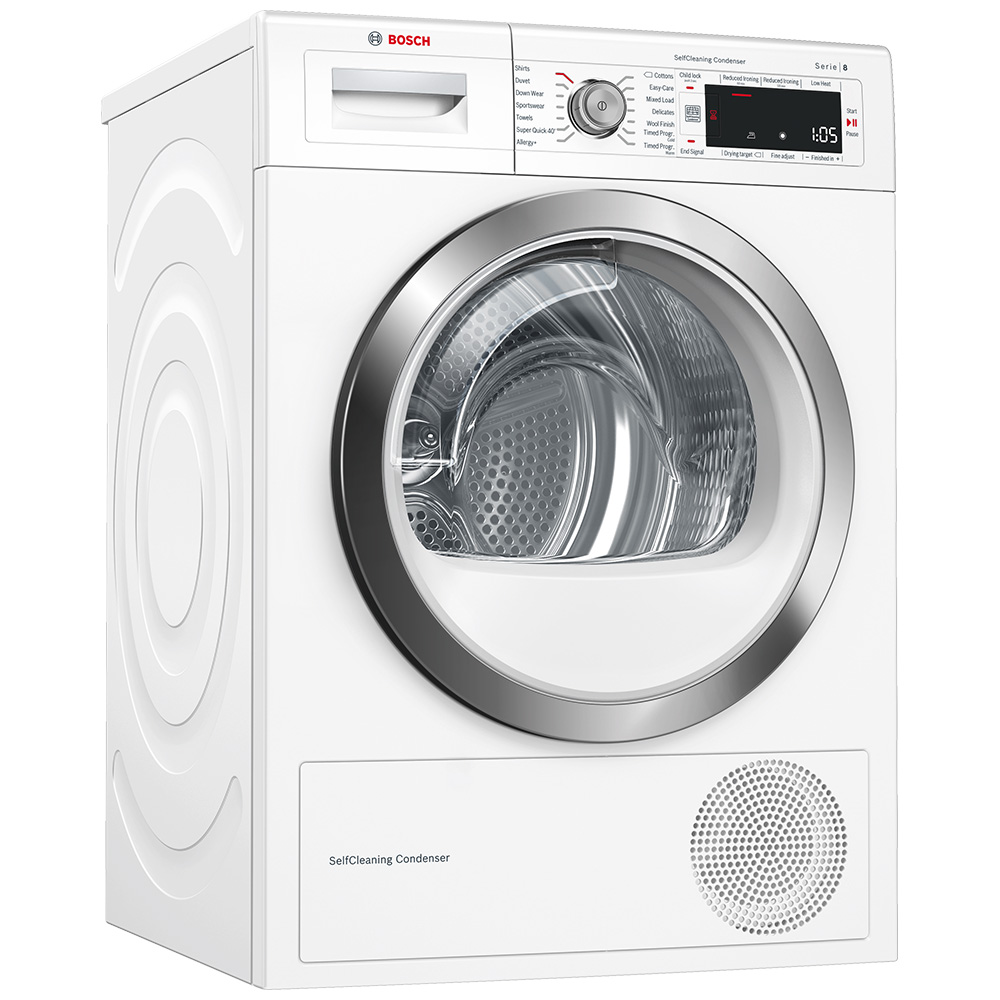 Bosch Dryer: Bosch WTW87561GB 9kg Heat Pump Condenser Tumble Dryer