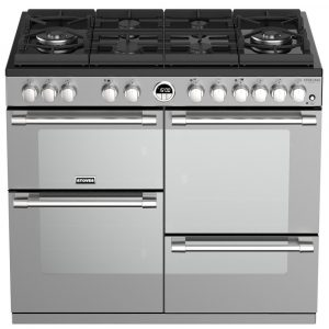 Stoves STERLING DX S1000DFGTGSS 4944 100cm Gas On Glass Dual Fuel Range Cooker - STAINLESS STEEL
