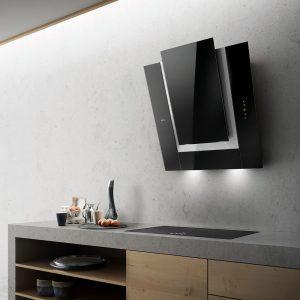 Elica VERDI BL 80cm Decorative Angled Chimney Hood – BLACK