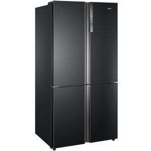 Haier HTF-610DSN7 American Style Four Door Fridge Freezer - BLACK