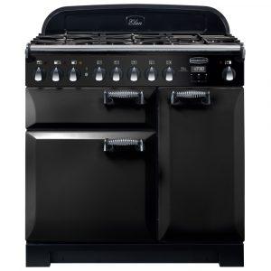 Rangemaster ELA90DFFBL/ Elan Deluxe 90cm Dual Fuel Range Cooker 118100 – BLACK