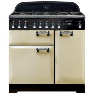Rangemaster ELA90DFFCR/ Elan Deluxe 90cm Dual Fuel Range Cooker 118110 – CREAM